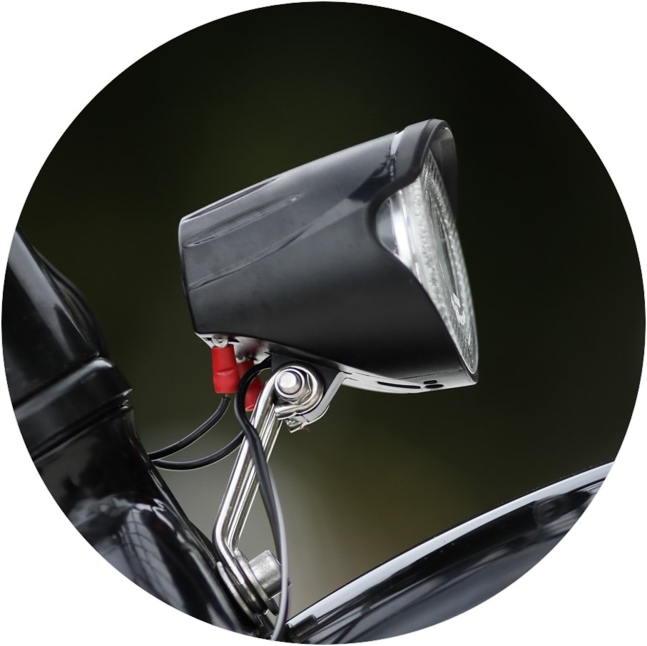 The headlight of one of our bikes